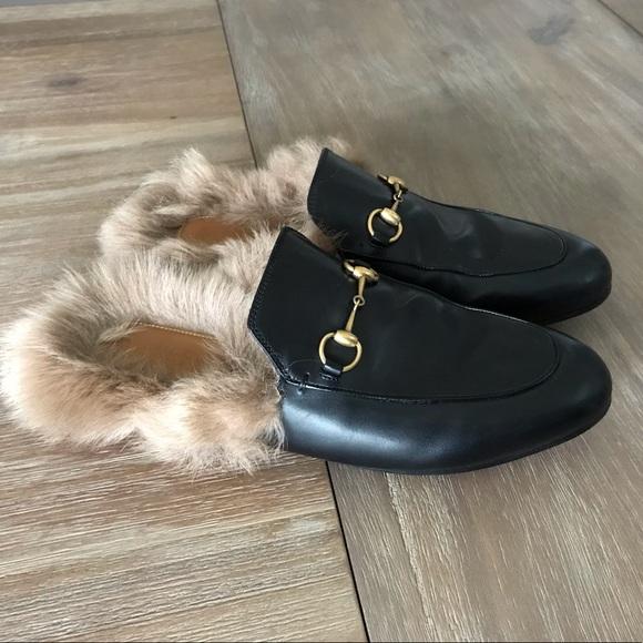 179793c4c53 Gucci Shoes - Gucci Princetown fur lined mules sz 40.5